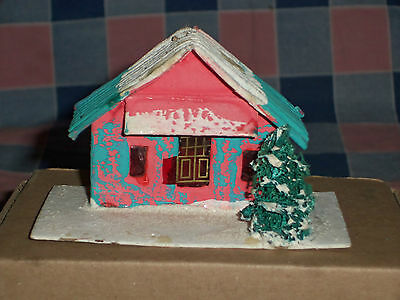 "d. Vintage Japan Christmas House Building 2 1/4"" High  Wear Door Window Cover"