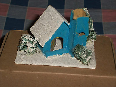 h. Vintage Japan Christmas House Building 2 3/8 Inch High  Damage to Chimney