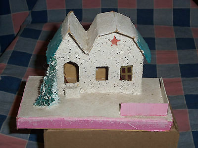 "m. Vintage Japan Christmas House Building 3 3/4"" High Wear to Window Covering"