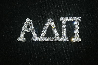 Large 'Alpha Delta Pi' CLEAR Crystal Sorority/Greek Pin- Officially Licensed