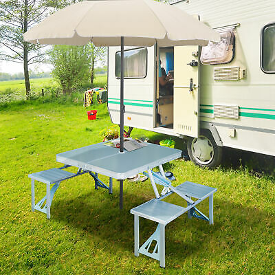 Peachy New Outdoor Portable Folding Aluminum Picnic Table 4 Seats Uwap Interior Chair Design Uwaporg