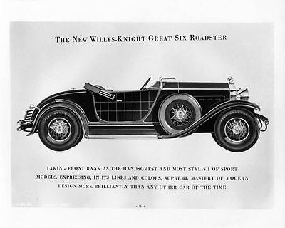 1929 Willys Knight Great Six Roadster Automobile Photo Poster zad9379-X7OBNI