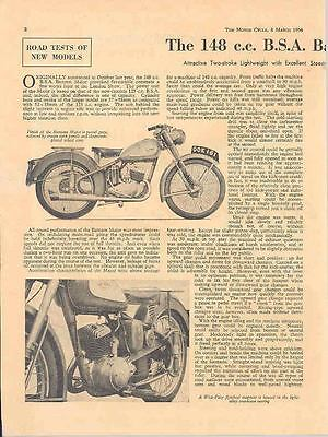 1954 BSA 148 Motorcycle Brochure Roadtest Report 22124-EXRCPX