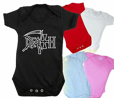 DEATH funny baby grow bodysuit CUTE HEAVY METAL ROCKER t shirt BNWT top