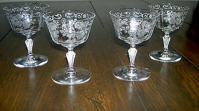 FOUR 1933 to 57 FOSTORIA  CRYSTAL STEMWARE IN MIDNIGHT ROSE ETCHED PATTERN