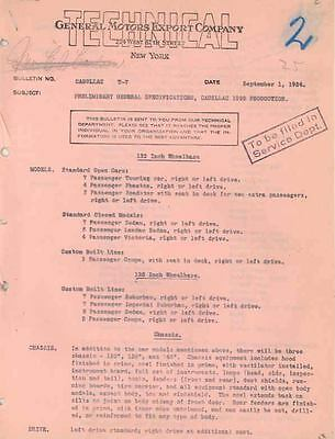 1925 Cadillac GM Engineering Specifications V63 52205-T3Y7MG