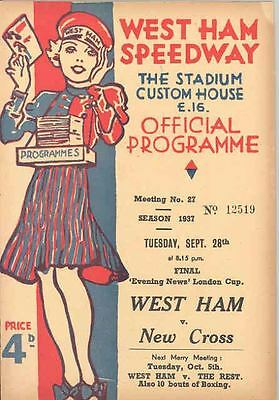 1937 West Ham Speedway Motorcycle Race Program England Sept 28 55621-XB32JK