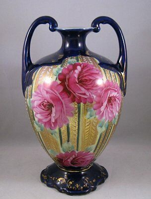 Antique Nippon cobalt vase with roses and gilding jewels 19th