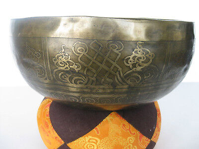 "Tibetan Singing Bowl ~ 8 7/8"" E, Eternity Knot, Om, long"