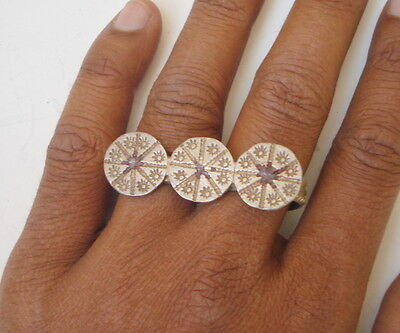 vintage antique collectible tribal old silver double ring rajasthan india jewelr
