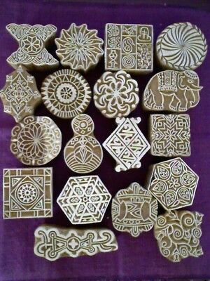 Indian Handcarved Stamp/printing Wood Block 18 Designs Tattoo/fabric/paper Art