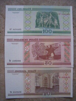 Belarus 2000 20/50/100 Rublei Unc (3) Note Set Buildings Buy From A Usa Seller !