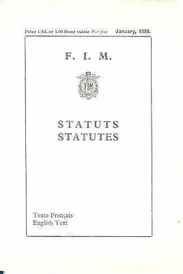 1950 FIM Statutes Motorcycle Brochure England France 67380-QUMHBS