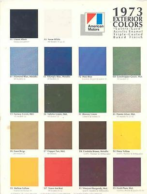1973 AMC Paint Colors Brochure 76495-PJ3WNY