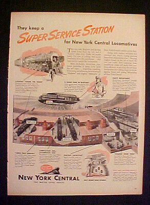"""1945 WWII New York Central Railroad Train~Service Station LG SIZE 10.5 x 14"""" AD"""