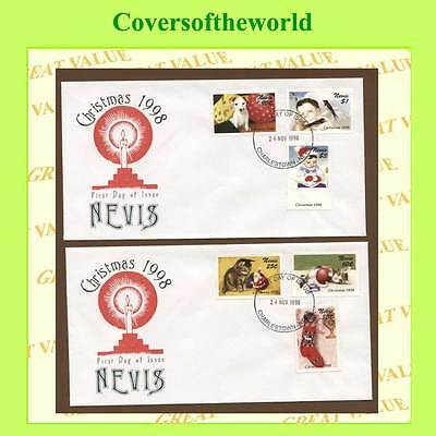 Nevis 1998 Christmas set on two First Day Covers