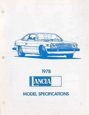 1978 Lancia Beta Sedan Coupe HPE Specifications Brochure wr4240-FD7YZV