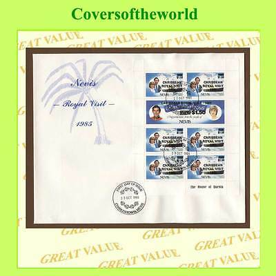 Nevis 1985 Royal Visit overprint sheetlet on First Day Cover