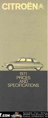 1971 Citroen Price Sales Brochure mw3194-5TRPLZ