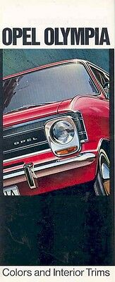 1968 Opel Olympia Exterior & Upholstery Color Brochure mw4655-CCI57P