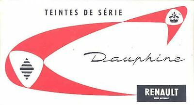 1958 Renault Dauphine Paint Color & Upholstery Brochure mw7998-ZM1A8B