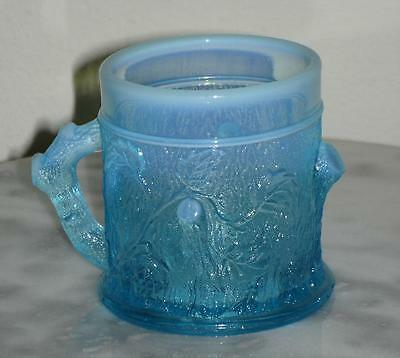 Blue Opalescent Tree Stump Novelty handled Mug