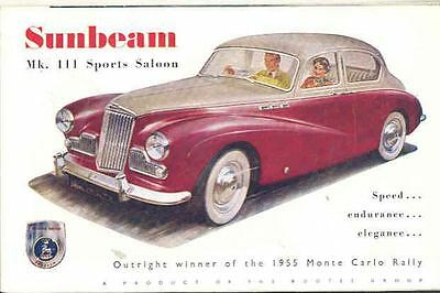 1956 Sunbeam MK III Sports Saloon Sales Brochure RHD mw8887-ACT54Y