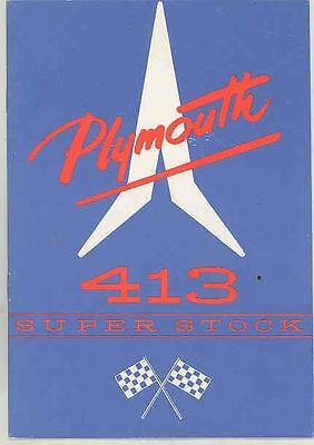 1963 Plymouth 413 Super Stock Drag Race ORIGINAL Owner's Manual Suplemnt wr7757