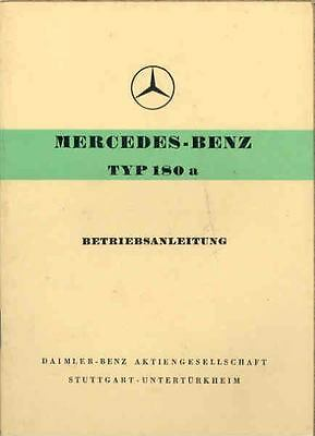 1959 Mercedes Type 180a Owner's Manual German fo1033-QXU41S
