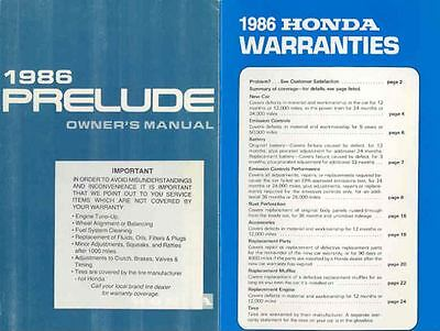 1986 Honda Prelude Owner's Manual and Pouch fo1177-3VJ33D
