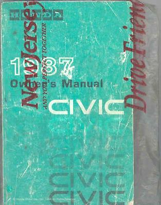 1987 Honda Civic Owner's Manual and Sleeve fo1179-3DXJYE