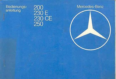1980 Mercedes Type 200 230 250 Owner's Manual German fo1190-PQKRWH