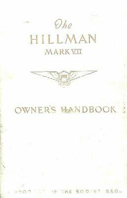 1954 Hillman Mark VII Owner's Manual fo460-97PS5Y