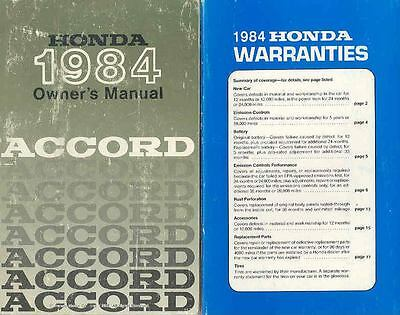 1984 Honda Accord Owner's Manual and Pouch fo515-VRLKZZ