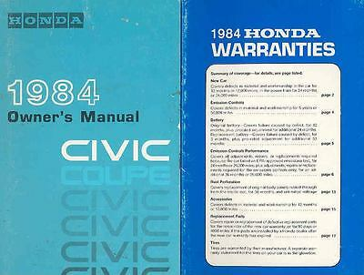 1984 Honda Civic Coupe Owner's Manual and booklet fo517-53KRW7