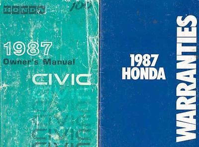 1987 Honda Civic Owner's Manual with booklet fo531-W61JNC