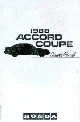 1988 Honda Accord Coupe Owner's Manual fo538-3NLF2S