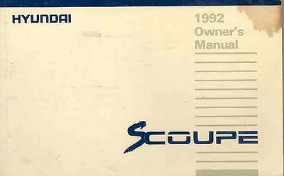 1992 Hyundai S Coupe Owner's Manual fo688-QF75Z2