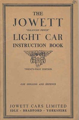 1936 1939 ? Jowett Light Car Owner's Manual fo772-XC9ORE