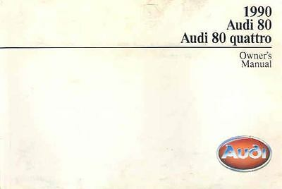 1990 Audi 80 and 80 Quattro Owner's Manual fo92-7EEA3T