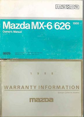 1988 Mazda MX6 and 626 Owner's Manual and Pouch fo927-NV1MER