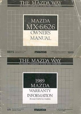 1989 Mazda MX6 and 626 Owner's Manual and Pouch fo933-LTCPJX