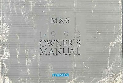 1993 Mazda MX6 Owner's Manual fo963-6FT1F2