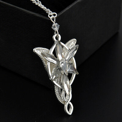 vintage fashion ARWEN'S EVENSTAR NECKLACE LORD OF THE RINGS SILVER pendant ##..