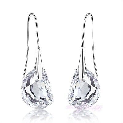 free shipping 18k white Gold plated clear swarovski crystal earring dangle E687