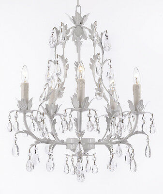 5 LIGHT BEAUTIFUL WROUGHT IRON OR METAL & CRYSTALS CHANDELIER TOLE KITCHEN