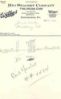 1929 Willys Overland Dealer Parts Invoice Lot 80524-PHLPDK