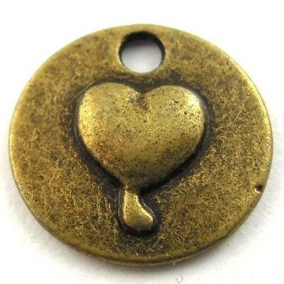 90X Vintage Style Bronze Tone Round Heart Love Pendant Charms Findings 14*14*2mm
