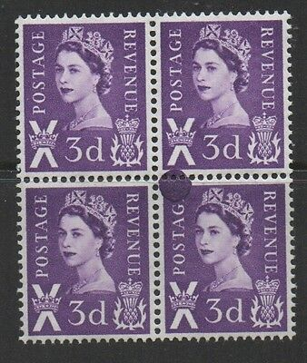 Scotland. 3d blue block x 4 with printing flaw error. Fine mint.