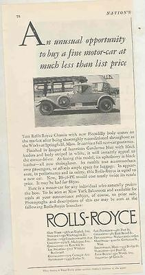 1925 1928 Rolls Royce Silver Ghost Piccadilly Springfield Roadster Ad ws9033-LF6